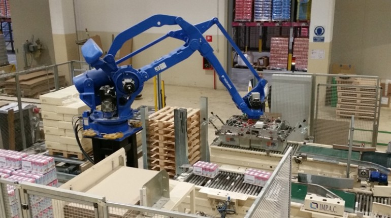 shrink wrap and vacuum bags robot pallettizer for milling industry